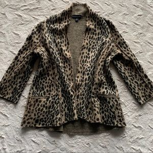 Monterey Bay leopard Wool Open Front Sweater, XL